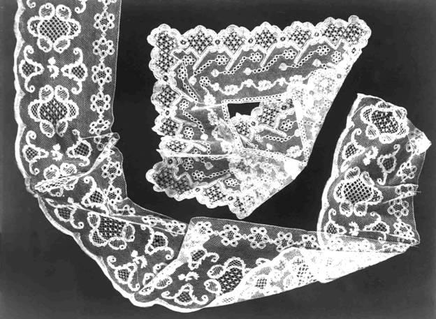 Оплет носового платка и мерное кружево. Лён. 19 в. Музей народного искусства. Москва.