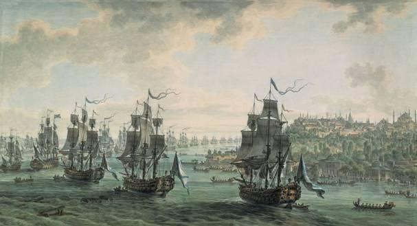 Кто автор пейзажа «Эскадра Ф.Ф.Ушакова, идущая Константинопольским проливом»?