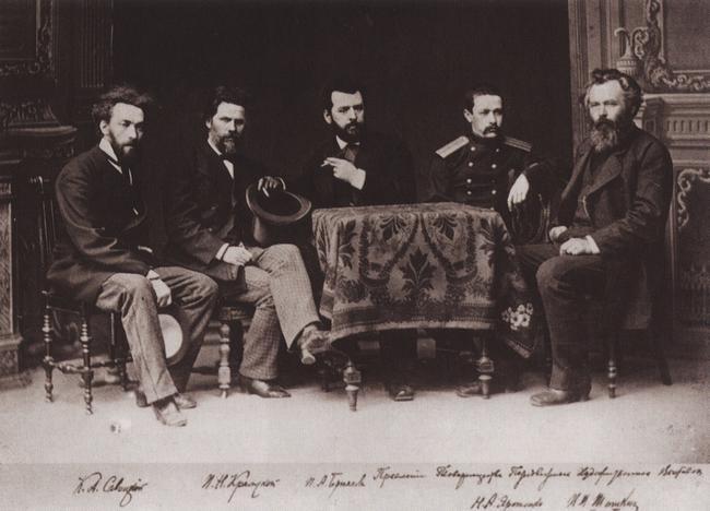 1870-е. Слева направо: К. А. Савицкий, И. Н. Крамской, П. А. Брюллов, Н. А. Ярошенко, И. И. Шишкин