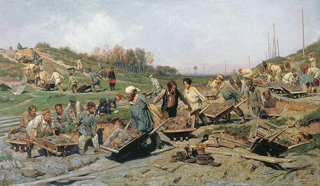 Ремонтные работы на железной дороге, 1874