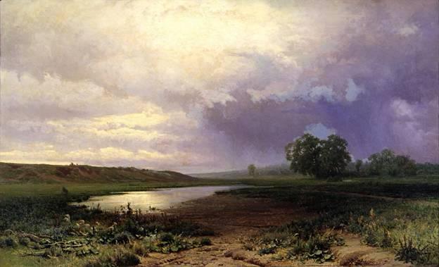 Кто автор картины «Мокрый луг»?