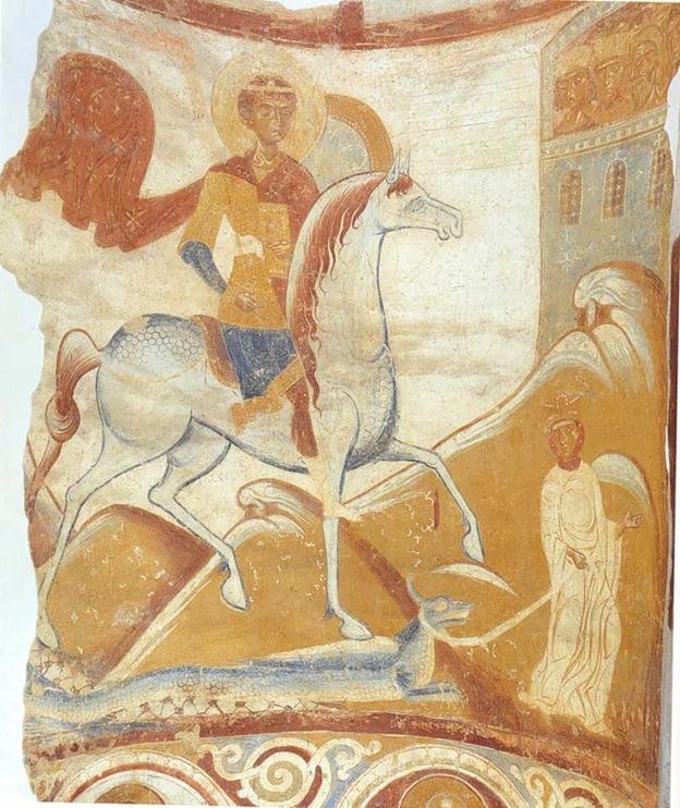 Откуда этот фрагмент новгородской живописи «Чудо Георгия о змие» второй половины 12 в.?
