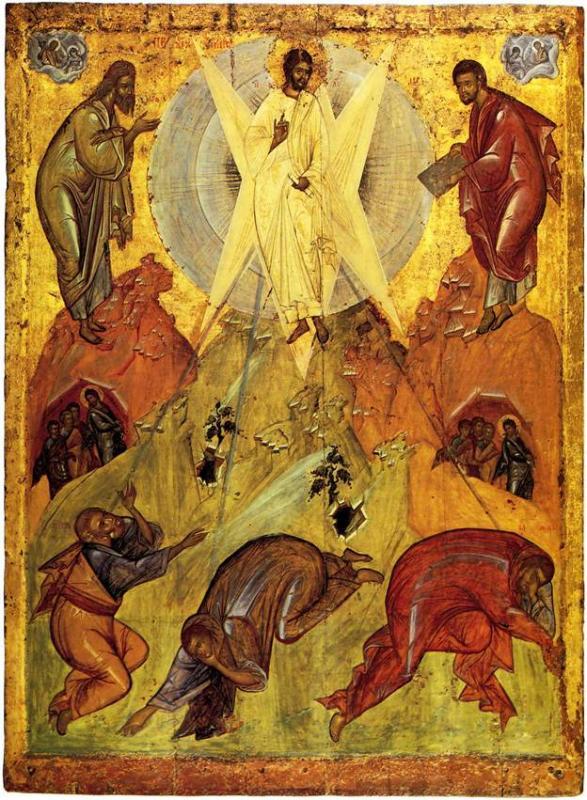 Преображение. Из Спасо-Преображенского собора в Переславле-Залесском.  Около 1403 года. 184×134. Третьяковская галерея