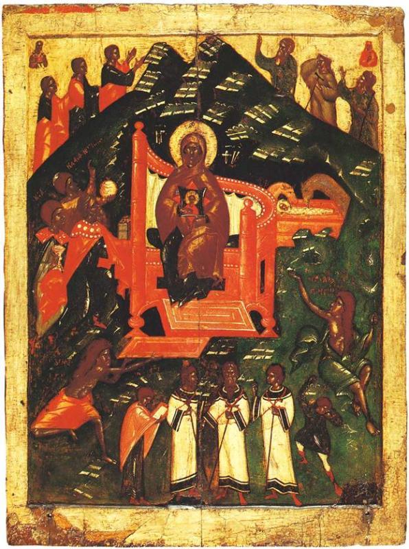 Какой школе принадлежит икона 14 века «Собор Богоматери»?