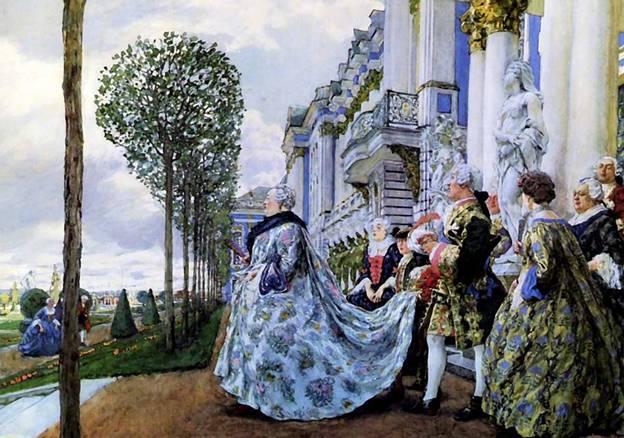 Кто автор гуаши «Императрица Елизавета Петровна в Царском Селе»?